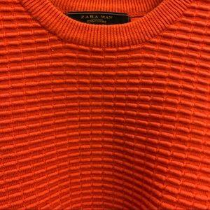 ZARA MAN Orange texture Crew Neck Sweater Small